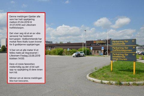 SVINDEL: Denne meldingen ble torsdag formiddag sendt ut til tidligere oppkjøringskandidater ved Lillestrøm trafikkstasjon. Den er falsk, sier veivesenet.