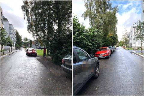 BØTELAGT: Dette er noen av de få bilene som ble bøtelagt i løpet av tirsdagen.
