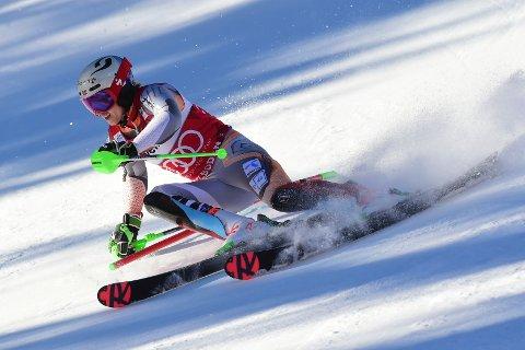 KJØRTE SEG OPP: Etter å ha ligget på 8.plass etter førsteomgangen ble det en 2.plass i slålåm-rennet i Adelboden søndag.
