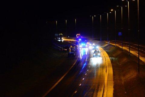 En av farene onsdag morgen: Slik så det ut da en bil mistet kontrollen som følge av vannplaning på E6 ved en tidligere anledning. Foto: Remi Presttun.