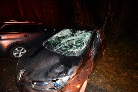 KNUST: Slik så bilen til Sara Relling ut, etter at hun onsdag kveld kolliderte med en elg.