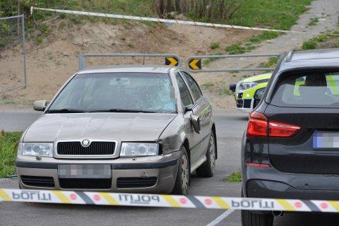DØMT: 26-åringen som var sjåfør av denne bilen er nå dømt i Øvre Romerike tingrett etter at hun kjørte på Eva Såtun Lønnes (73). 73-åringen døde momentant av skadene.