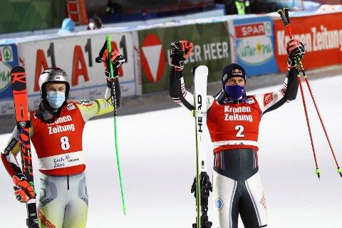 FINALETAP: Henrik Kristoffersen (t.v.) måtte se seg slått av franske Alexis Pinturaulti finalen i parallellstorslalåm i Lech i Østerrike fredag kveld.
