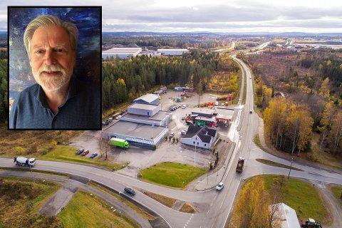 Viggo Lund (innfelt) har solgt tomta som ligger langs E6 nord for Jessheim.   FOTO: Privat