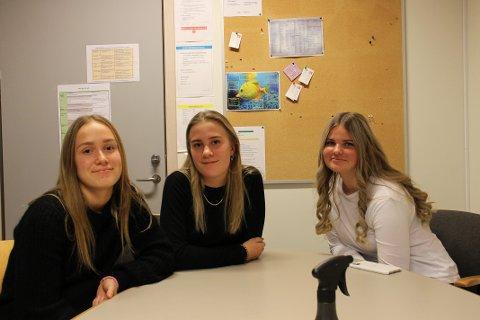 KRITISKE: Fra venstre: Eline Kvandal (15), Ine Heramb (15) og Madeleine Arnesen (15)  i 10C ved Stav ungdomskole.