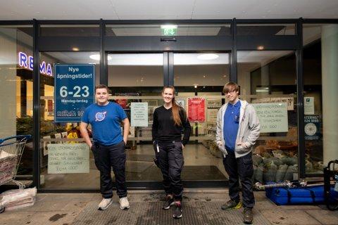 TRO TIL: Rema-ansatte Henriette Engen, Jacob Rognstadtangen og  Håvard Høgås Merlid tro til for det massive redningskorpset som trengte forsyninger.