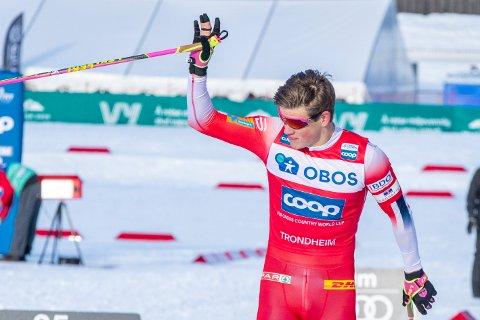 Trondheim 20200222.  Johannes Høsflot Klæbo i finalene på sprint under  Ski Tour 2020 i Trondheim. Foto: Terje Pedersen / NTB scanpix