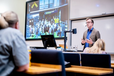 OsloMet-ledelsen, her rektor Curt Rice under allmøtet på Campus Kjeller tidligere i januar i år. Nå jobbes det med Campus Romerike.
