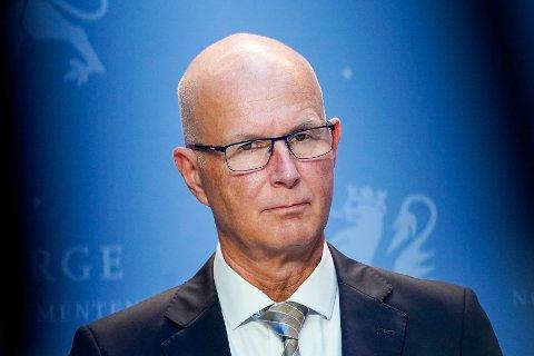 Helsedirektør Bjørn Guldvog under en pressekonferanse om koronasituasjonen. Foto: Lise Åserud / NTB scanpix