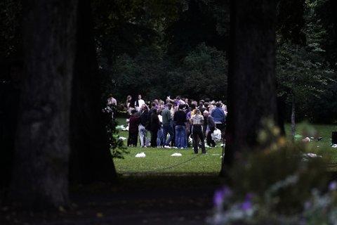 FULL FEST: Et stort antall studenter og ungdommer samlet seg i Frognerparken i Oslo mandag kveld.