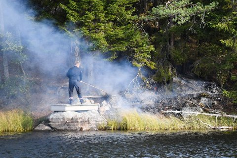 Skogbrann ved Holttjern i Kirkebygda. Foto: Gunnleik Seierstad