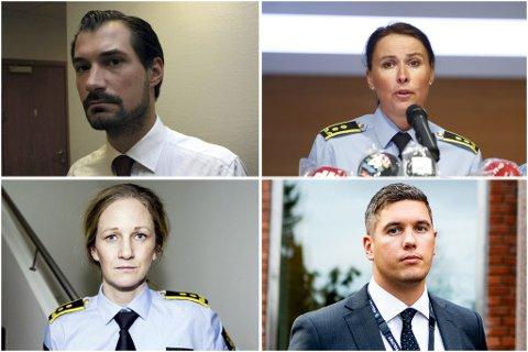 UTE: Haris Hrenovica, Åse Kjustad Eriksson, Guro Holm Hansen og Mathias Emil Hager har på et tidspunkt vært inne i etterforskningen av Lørenskog-saken. Nå er de enten ute eller på vei ut.