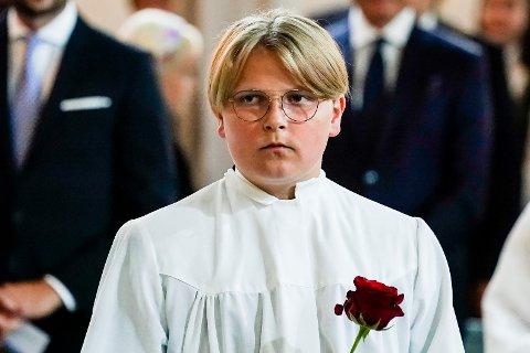 Prins Sverre Magnus under konfirmasjonen i Asker Kirke.