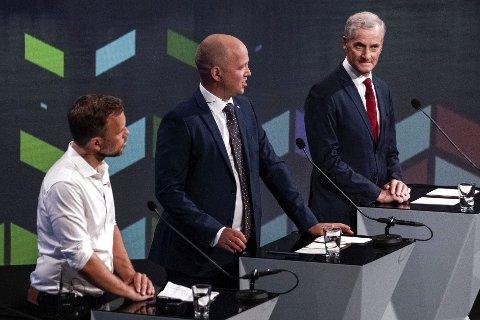 Audun Lysbakken (SV), Trygve Slagsvold Vedum (SP) Jonas Gahr Støre (AP) under partilederdebatt i Arendal i fjor høst.