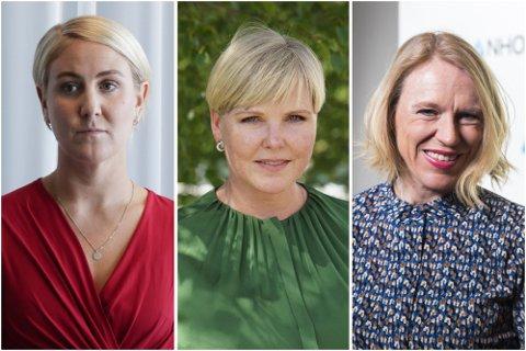 TRE BLAD ROMERIKINGER: Tonje Brenna, Anne Beathe Tvinnereim og Anniken Huiitfeldt blir alle nye statsråder i Støre-regjeringen. Foto: NTB