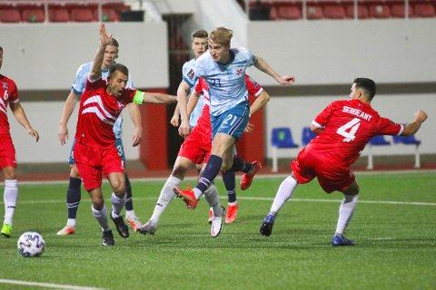Kristian Thorstvedt i kampen mellom Norge og Gibraltar onsdag kveld.