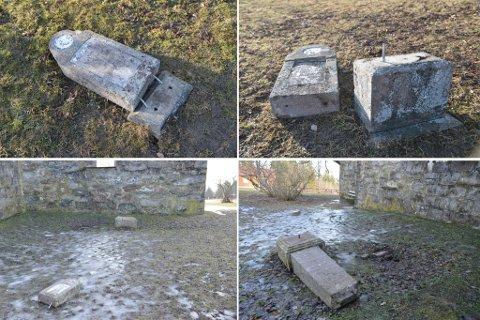 ØDELAGT: Flere gravstøtter er i løpet av helga blitt vandalisert. Nå er forholdet anmeldt til politiet som har sikret videobilder fra området.