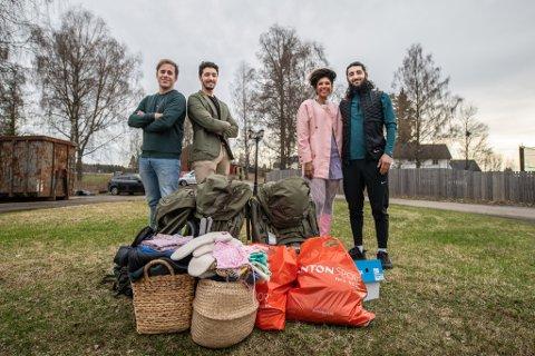TIL LOFOTEN: De to venneparene (f.v.) Kim Kasin (34), Khalil Yougil (22), Paolla da Silva (27) og Sultan Avtajev (27) skal konkurrere om hvilket par som kommer først til Lofoten.