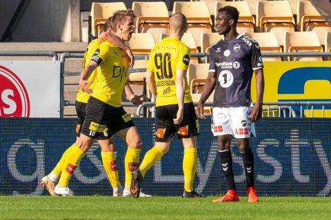 SEIER: Endelig grunn til å juble for LSK og Thomas Lehne Olsen under eliteseriekampen mellom LSK og Odd på Åråsen stadion.