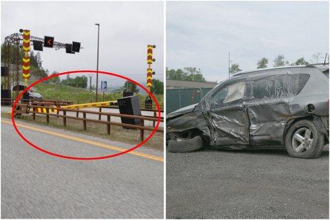 LETTERE SKADD: Alle de tre involverte i ulykken kom fra det med lettere skader. Her er bilen som ble påkjørt av spøkelsesbilisten, samt bommen mannen i 20-årene kjørte ned avbildet.