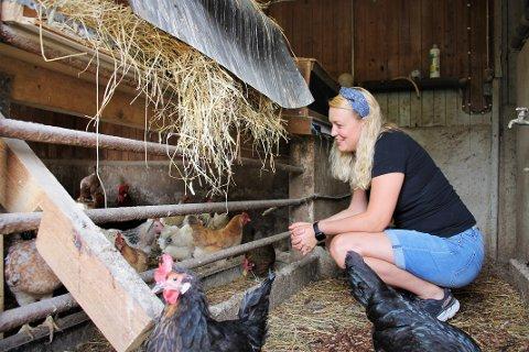 PORTFORBUD: Hønene til Stine Andresen, eier og daglig leder av Vølner Landhandleri, må forholde seg innendørs på ubestemt tid.