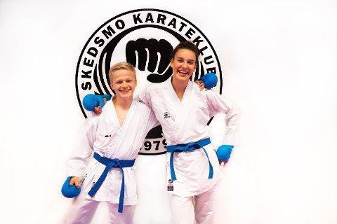 GLADE UTØVERE: Kristian Svae Jemblie (16) og Hannah Stubsjøen (17) representerer Skedsmo Karateklubb i årets junior-EM i karate.