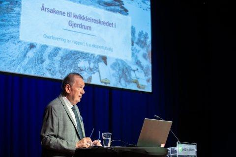KONKLUSJONEN ER KLAR: Gjerdrum-utvalgets leder Inge Ryan presenterte onsdag årsaken til Gjerdrum-skredet. Den omfattende rapporten leses nå grundig av forsikringsaktørene.