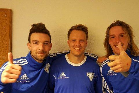 ROS sine målskårere mot Austad: Fra venstre,  Glenn Olstad, Ole Martin Gunvaldsen og Christoffer Lindberg.