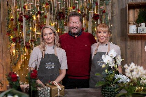 PÅ TV: Tina Pedersen og Kari Brekke fra Sætre  (t.h.) skal bistå Bjarne Brøndbo i Julekveld med Prøysen og gi gode råd om stelle av juleplanter og blomster.