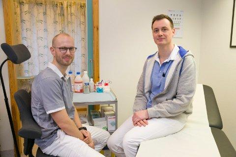 NYETABLERTE: Espen Grimstad og Geir Helgeland er nyetablerte leger i Røyken, og kan foreløpig tilby sine pasienter den luksus det er å få time på dagen.
