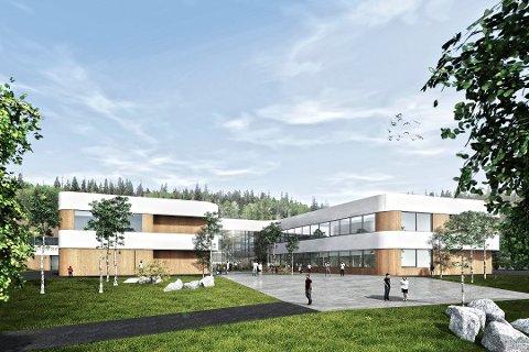 SLIK: Slik blir nye Torvbråten skole når den står ferdig i januar 2021.