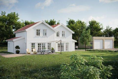 NYTT: Slik kan det tiltenkte nye speiderhuset med garasje komme til å se ut. Illustrasjon: Delta Arkitekter AS