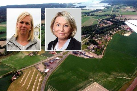 Ordfører Elin Gran Weggesrud møter kommunal- og moderniseringsminister Monica Mæland sammen med Holmestrand-ordfører Alf Johan Svele.