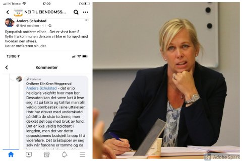 FÅR KRITIKK: Ordfører Elin Gran Weggesrud fikk mye kritikk på Facebook etter svaret til debattanten Anders Schulstad. – Han tar setningen ut av sammenheng, sier hun selv.