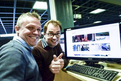 Kulturelle: Erik Rastad (til venstre) og Morten Hagevik lanserer kulturnettstedet kulturell.no. Der reflekterer de rundt alle sider av kulturlivet. Foto: Flemming Hofmann Tveitan