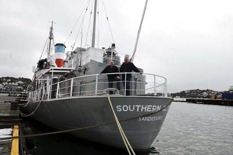 TIL SJØS: Gunnar Kristiansen og Svein Rolstad ønsker den yngre garde velkommen om bord. Foto: Lily Marcela Gundersen Southern Actor