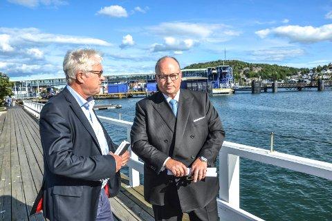 Color Line: Verken kommunikasjonsdirektør Helge Otto Mathisen (t.v.) eller konsernsjef Trond Kleivdal vil kommentere hvor mange som kan risikere å miste jobbene sine når Color Line fra 2020 bare skal ha ett skip på Sandefjord-Strømstad.