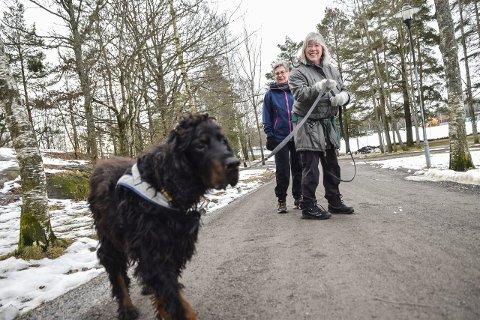 Jubler: Matmor Elisabeth Aas (til venstre) og turvenninne Unni Kveldsvik hilser det at kommunen spesifiserer båndtvangsbestemmelsene, hjertelig velkommen. Her med hunden Viktor i Bugårdsparken. Foto: Flemming Hofmann Tveitan