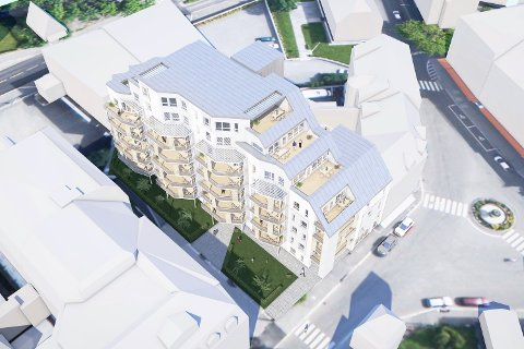 VARIERENDE HØYDE: Det nye bygget nedtrappes mot Chr. Hvidts Plass, og får åtte etasjer på det høyeste.