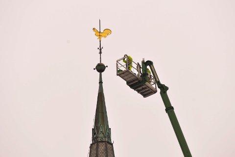 HANEN: Blikkenslagerne Ole Larsen og Tony Folvik sikret seg noen bilder av værhanen og byen når de først var så høyt oppe.