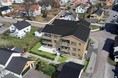 SENTRUM: Det blir 12 leiligheter fra 80 til 110 kvadratmeter i det nye sentrumsbygget i Stokke. (Illustrasjon: Blink Hus Tønsberg AS)