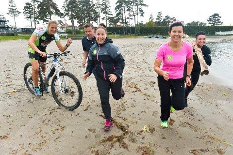 Mange aktiviteter: Det vil bli både sykling, løping og svømming under aktivitetsuka. f.v: Monica Haugen, Roger Sørsdal, Birgitte Bjørvik, Tone Skeie og Liss Karine Munkevold