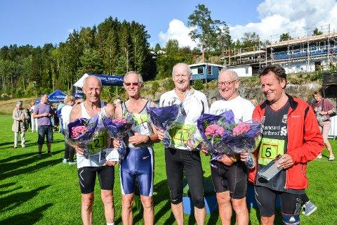 KODALMILA: Disse karene har vært med i hvert eneste av de 40 løpene i Kodalmila. Fra venstre: Steinar Wegger (78), Oddvar Bruun (78), Roar Johansen (72), Odd Lars Bredal (70) og Vidar Barth (60).