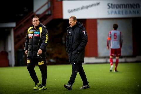 HAR GÅTT GRADENE: Magnus Powell (t.v.) har gjort suksess som trener i Egersund (2. divisjon) og Levanger (Obosligaen) de siste årene. Før det var han assistenttrener for Magnus Haglund (t.h.) i Lillestrøm.