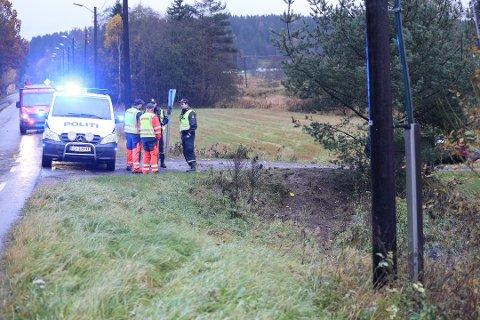 ULYKKESSTED: Her, like etter krysset Kodalveien/Trollsåsveien i retning Sandefjord, kjørte 18-åringen av veien. Bilen kan skimtes bak trærne.