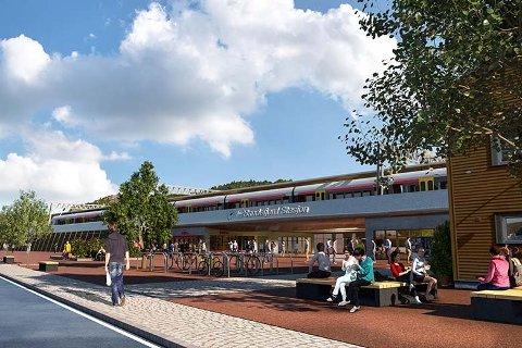 3D-MODELL: I sommer la Bane NOR fram hvordan jernbanestasjonene i Sandefjord og Stokke kan bli seende ut. Her er et av eksemplene på ny Sandefjord stasjon i Gokstadkorridoren, hvor vi ser hovedatkomsten fra Peder Castbergs gate. Foto/illustrasjon: Bane NOR
