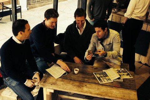 KAFFEEVENTYR: (f.v.) Anders Wilhelmsen, Eirik Holth, Max Dubiel og Gabe Shohet er kameratene som står bak Black Sheep Coffee. (PRESSEFOTO)