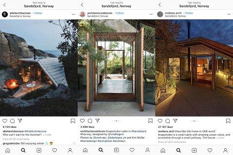 GÅR VIRALT: En rekke arkitektfokuserte profiler med til sammen flere millioner følgere på Instagram, har i løpet av de siste dagene lagt ut bilder av en liten hytte som ligger i Sandefjord.