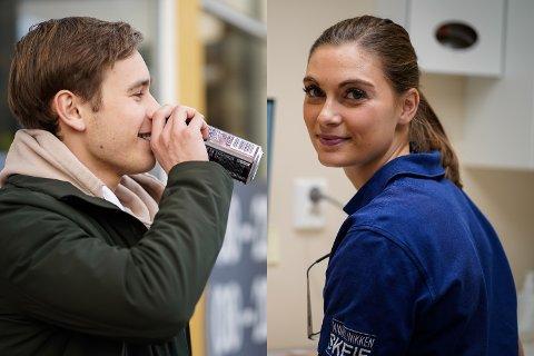 DÅRLIG FOR TENNENE: Ingeborg Jacobsen Linaae (27) har merket en økning i ungdoms bruk av energidrikk, og mener det kan være veldig skadelig for tannhelsa. Christoffer Thomas Ek (18) sier likevel at han trenger det for å komme seg gjennom skoledagen.