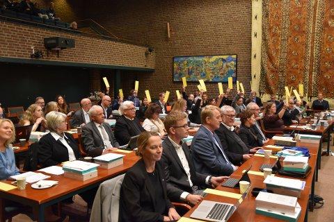 VALG: Fordelingen var helt lik både i valget av ordfører og varaordfører. De med gule lapper fikk ikke viljen sin.